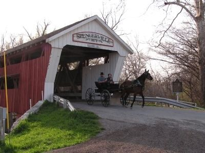 Spencerville Covered Bridge Horse Traffic image. Click for full size.