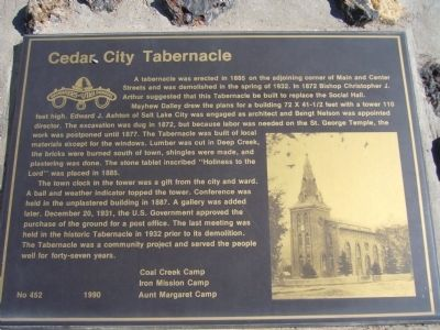 Cedar City Tabernacle Marker image. Click for full size.