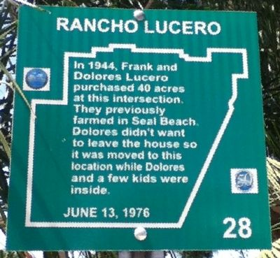 Rancho Lucero Marker image. Click for full size.