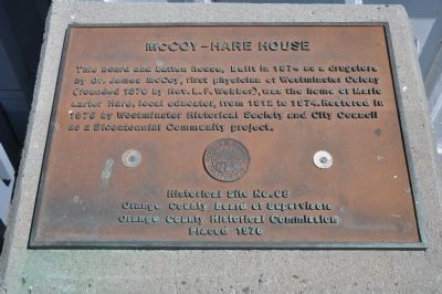 McCoy-Hare House Marker image. Click for full size.