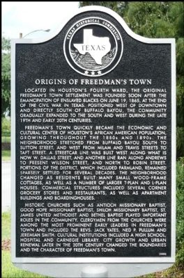 Origins of Freedman's Town Marker image. Click for full size.