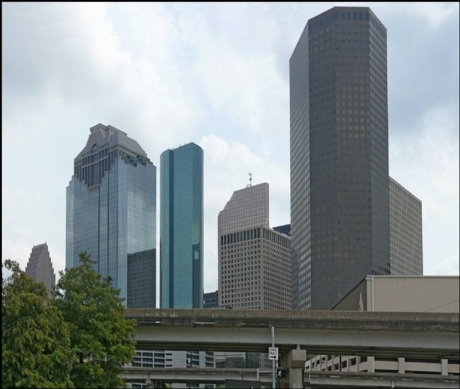 Houston Skyline as seen from Origins of Freedman's Town Marker image. Click for full size.