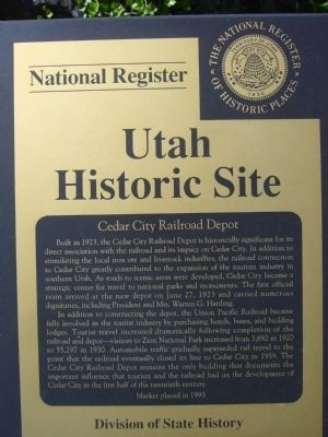 Cedar City Railroad Depot Marker image. Click for full size.