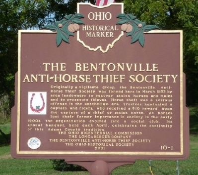 Bentonville Anti-Horse Thief Society Marker image, Touch for more information