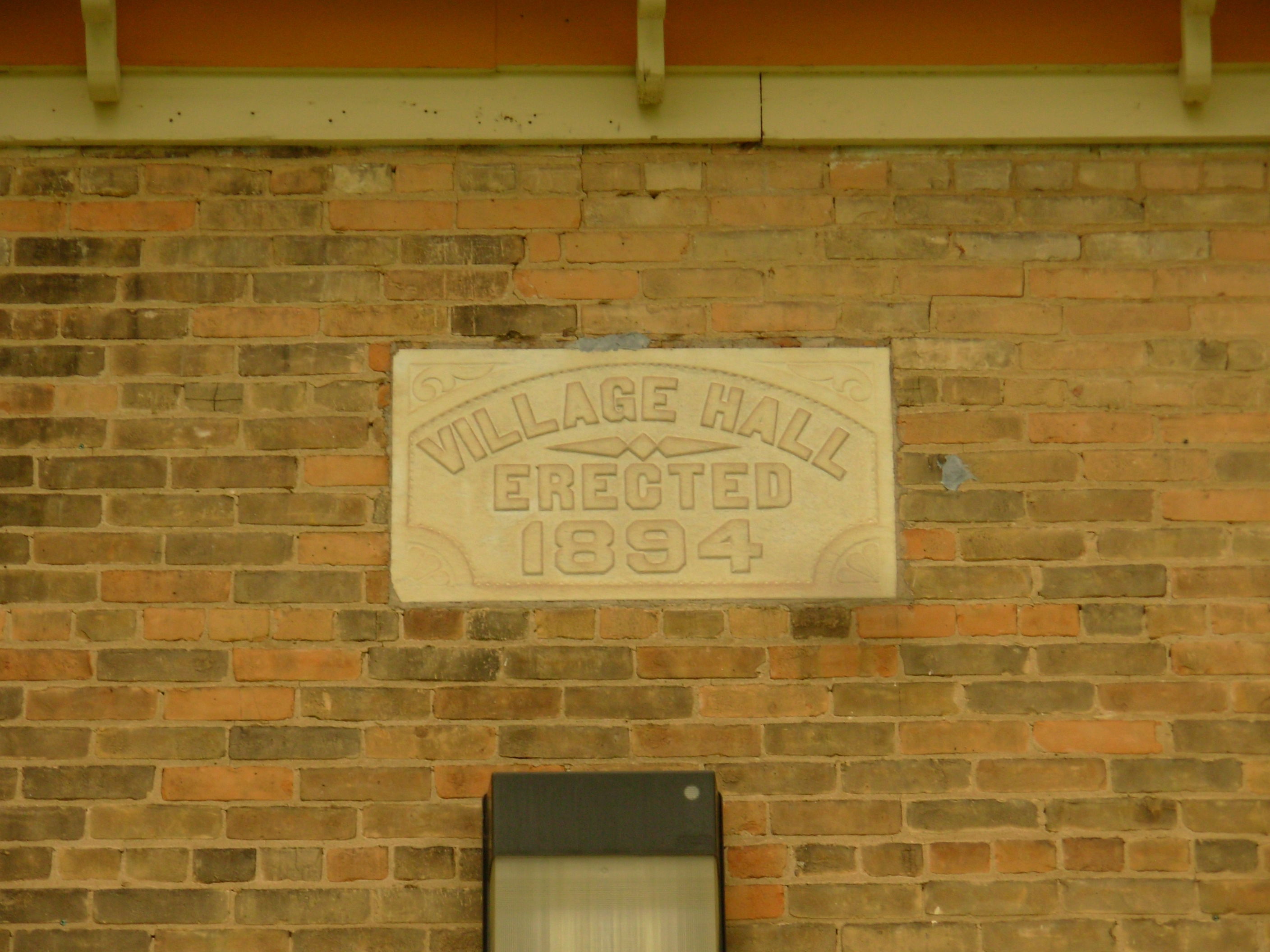 Belleville Library and Village Hall date stone