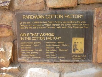 Parowan Cotton Factory Marker image. Click for full size.