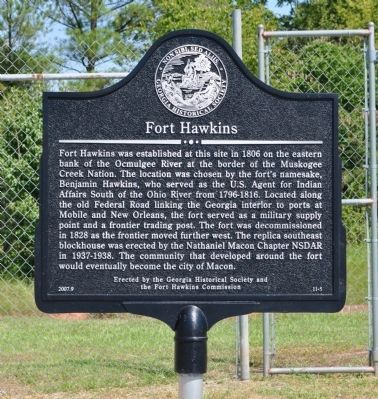 Fort Hawkins Marker image. Click for full size.
