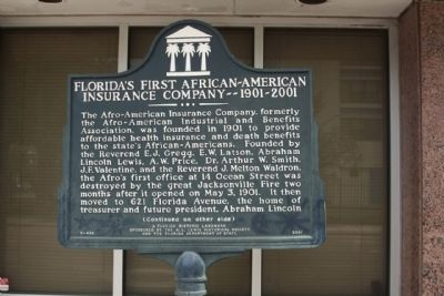 Florida's First African-American Insurance Company--1901-2001 Marker image. Click for full size.