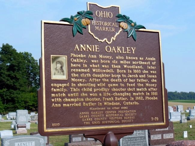 Annie Oakley Marker (front) image. Click for full size.