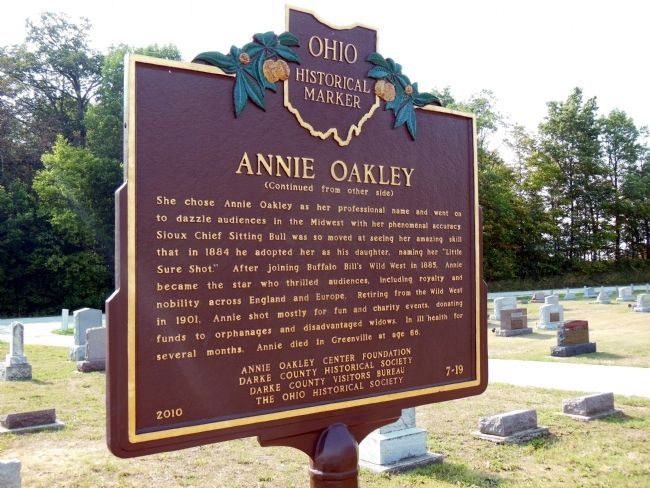 Annie Oakley Marker (back) image. Click for full size.