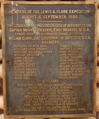 Members of the Lewis & Clark Expedition (Second Marker) image. Click for full size.
