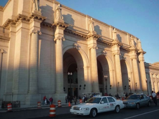 "Union Station, Washington, DC - across 1st Street from the ""All Aboard"" marker image. Click for full size."