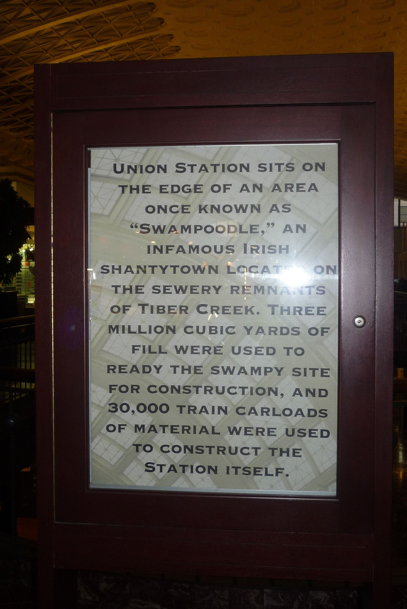 """Swampoodle"": Historical marker on display inside Union Station"