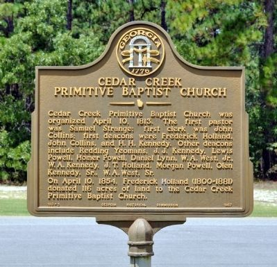 Cedar Creek Primitive Baptist Church Marker image. Click for full size.
