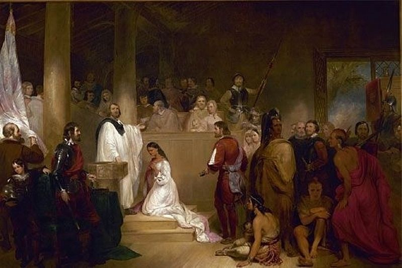 The Baptism of Pocahontas piece of art in the U.S. Capitol Rotunda image. Click for full size.