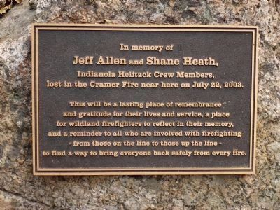 In memory of Jeff Allen and Shane Heath Marker image. Click for full size.