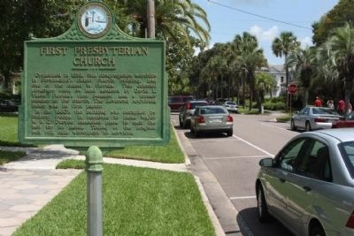 First Presbyterian Church Marker, looking north along N 6th Street image. Click for full size.