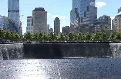 "9/11 Memorial Pool on the site of ""WTC 1"", the <i>North Tower image. Click for full size."