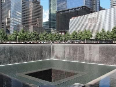 "9/11 Memorial Pool on the site of ""WTC 2"" the <i>South Tower image. Click for full size."