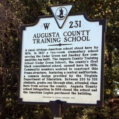 Augusta County Training School Marker image. Click for full size.