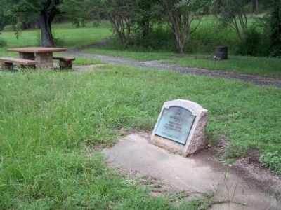 Camp Ford Marker, seen along the interpretive trail image. Click for full size.