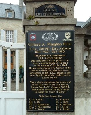Clifford A. Maughan P.F.C. Marker image. Click for full size.