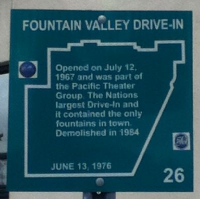 Fountain Valley Drive-In Marker image. Click for full size.