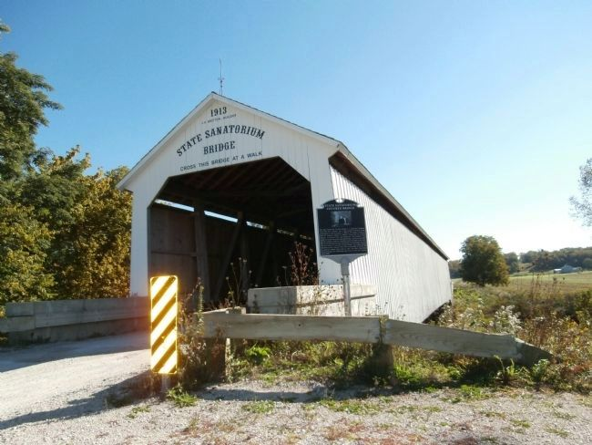 Wide View - - State Sanatorium Covered Bridge Marker image. Click for full size.