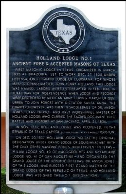 Holland Lodge No. 1 Ancient Free & Accepted Masons of Texas Marker image. Click for full size.