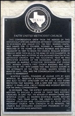 Faith United Methodist Church Marker image. Click for full size.