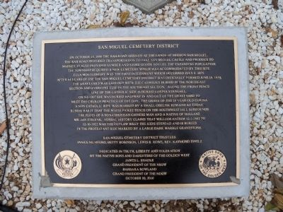 San Miguel Cemetery District Marker image. Click for full size.