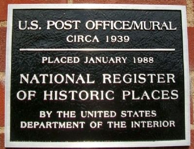 U.S. Post Office / Mural NRHP Marker image. Click for full size.