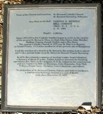 St. Bernard Catholic Church Bell Marker image. Click for full size.