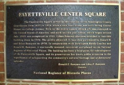 Fayetteville Center Square Marker image. Click for full size.