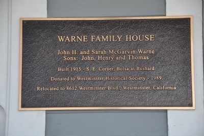 Warne Family House Marker image. Click for full size.