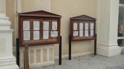 Pompey's Pillar historical panels - in display cabinets, upper middle. image. Click for full size.