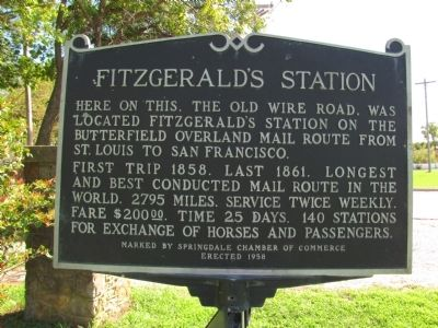 Fitzgerald's Station Marker image. Click for full size.