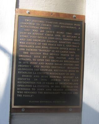 The Growler Saloon – Goethals Building Marker image. Click for full size.