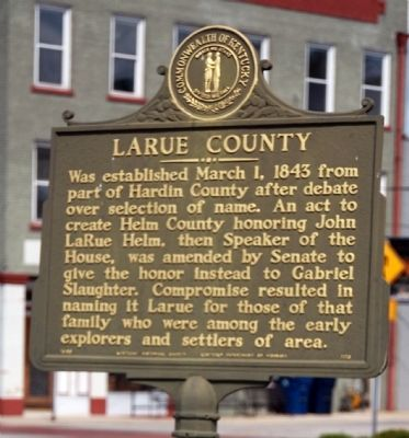 Side One - - Larue County / County Officials --- 1843 Marker image. Click for full size.