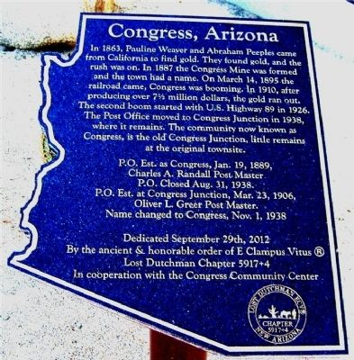 Congress, Arizona Marker image. Click for full size.