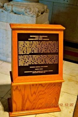 Prudence Crandall Plaque inside Capitol Building near Statues. image. Click for full size.