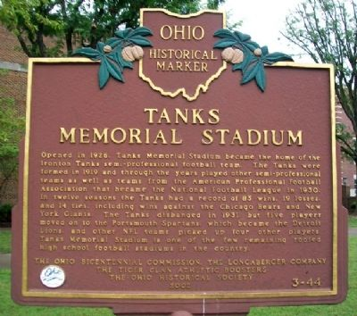 Tanks Memorial Stadium Marker (Side B) image. Click for full size.