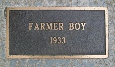 """Farmer Boy"" 1933 Marker image. Click for full size."