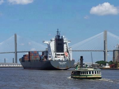 Savannah Waterfront, container ship heading to port, with ferry boat image. Click for full size.