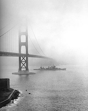 USS <i>San Francisco</i> passing under the Golden Gate Bridge, December 1942 image. Click for full size.