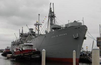 WWII Liberty Ship: S.S. <i>John W. Brown</i> at the Broadway Pier in Fells Point image. Click for full size.