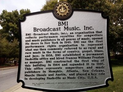 BMI, Broadcast Music, Inc. Marker image. Click for full size.