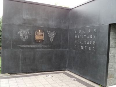 Marker at the Lucas Military Heritage Center image. Click for full size.