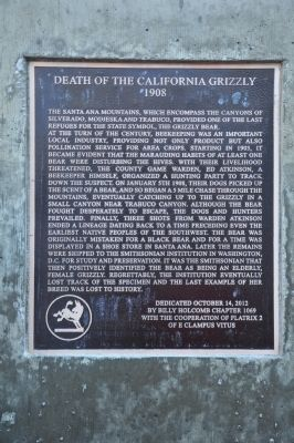 Death of the California Grizzly Marker image. Click for full size.