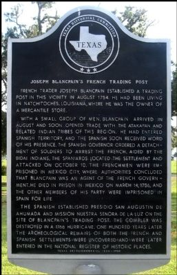 Joseph Blancpain's French Trading Post Marker image. Click for full size.